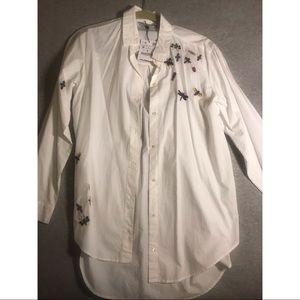 Zara white cotton shirt with designs brand new
